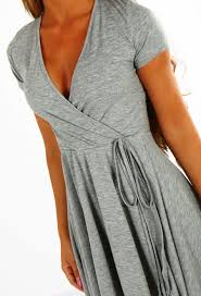 cute and casual grey jersey wrap skater dress pink boutique