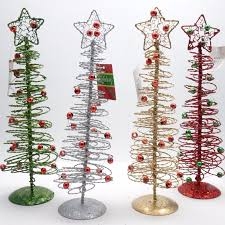 Set Of 12 Spiral Wire Christmas Tree Decorations NEW 10H X 3W LRI HOLIDAY