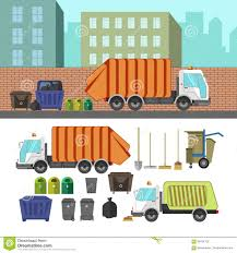Process Of Taking Of Garbage With Rubbish Truck Stock Vector ...