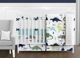 mod dinosaur blue and green crib bedding set sweet jojo designs
