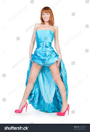 beautiful woman blue dress red shoes stock photo 74186035