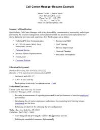 Amazing Call Superb Center Supervisor Resume Example