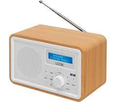 logik lhdr15 portable dab fm radio light wood white