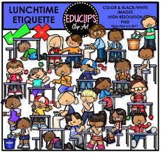 Lunchtime Etiquette Clip Art Bundle Color And BW