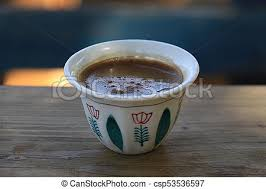 Lebanese Coffee Cup A Traditonal On Wooden Pane