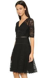 rebecca taylor short sleeve lace dress black in black lyst
