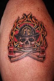 Flames And Irish Firefighter Skull Tattoos