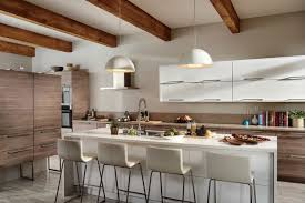 Kitchen Modern Design White Barstools Sink Shelves Marble Floor Cabinet Refrigerator Gas Range Countertop Pendant Lamp Hood