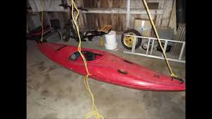 Garage Ceiling Kayak Hoist by Tutorial How To Hang A Kayak Or Canoe For Storage Youtube