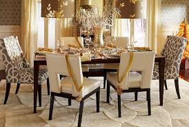 Classic Dining Room Design With Pier One Table Centerpiece Ideas Ivory Leather Upholstered Chairs