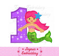 Instant Download Mermaid Number 1 Applique Machine Embroidery