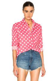 saint laurent polka dot shirt in rose u0026 white fwrd