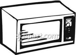 Black and White Microwave Royalty Free Clipart Picture