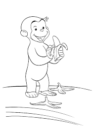 Curious George Eat Banana Coloring Pages Printable Free