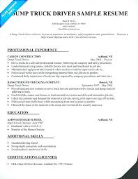 Truck Driver Resume Template Dump Sample Les Drivers Samples Across All Industries