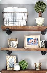 Build Wood Wall Shelves Long Square Brown Stayed Varnished Rack Strong Material Floating Furniture Antique Design