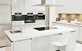 Striking Modern White Kitchen With Large Island And Backsplash Cabinets 35