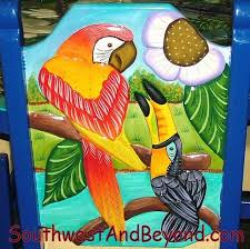Hand Carved And Brightly Painted Mexican Chair