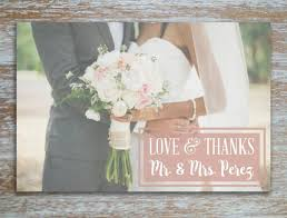 Boho Rustic Vintage Rose Pink Wedding Thank You Card Photo Postcard