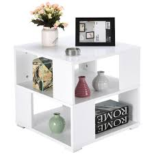 Gymax Modern Wood Square Coffee End Side Table With Storage Cube