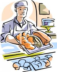 0511 1004 2215 1016 Baker Holding Hot Bread Over the Counter clipart image