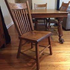 Vintage Solid Oak Dining Table Chair Set 6 Chairs Total In Great Condition
