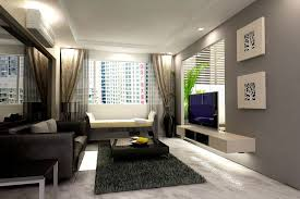 Apartment Fabulous Modern Asian Style Interior Design Showing Black Leather Sofa And Square Coffee Table On Grey Fur Carpet Plus Tv
