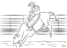 Simplistic Bucking Bull Coloring Pages Riding