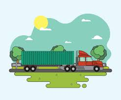 Green Landscape With Road And Moving 18 Wheeler Truck Illustration ...