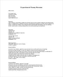 Experienced Nanny Resume Sample