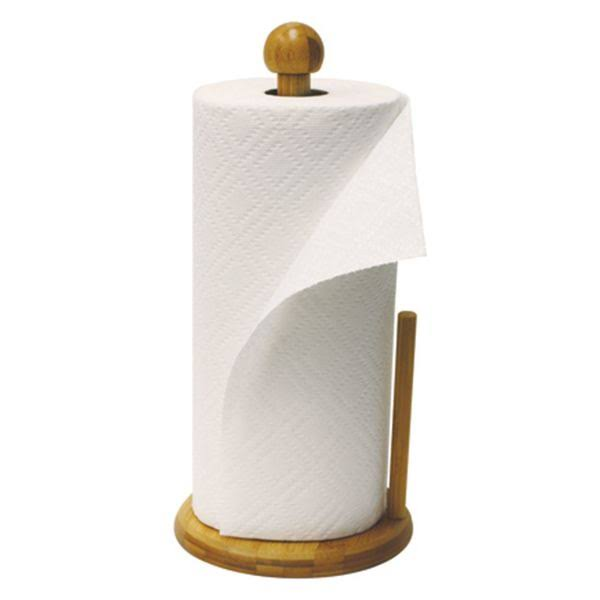 Home Basics Bamboo Paper Towel Holder - with Paper Towel Sheet, Natural