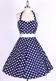 50s Polka Dot BigWhiteDots Navy Blue Halterneck Swing Dress