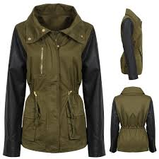 new womens contrast green military jacklet parka faux leather