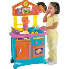 foldable kitchen set by fisher price with dora the explorer