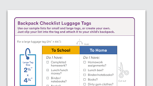 Graphic Of Backpack Checklist Luggage Tags