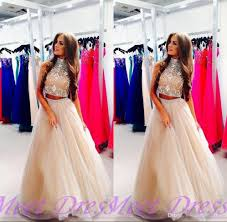 champagne prom dresses 2015 ball gowns high neckline silver beads