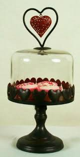 Black Metal Love Heart Pedestal Cake Stand With Glass Dome Lid By Divine Interiors And