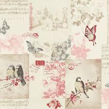 Songbird Cranberry Cream Birds Shabby Chic Floral Feature Wallpaper Holden 11264