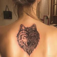 Wolf Face Tattoo On Back