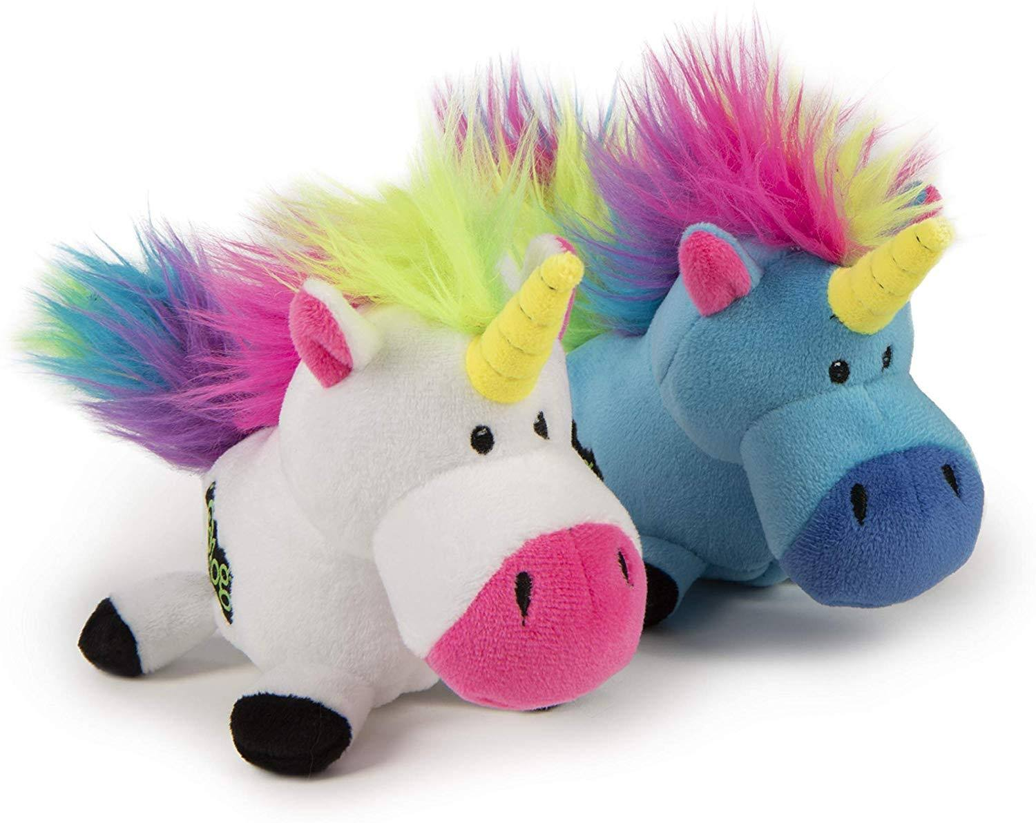 Godog Plush Unicorn Dog Toy, Blue Small