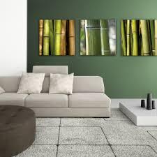 glasbild 50x50cm wohnzimmer bambus wald grün