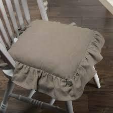 Ruffled Chambray Taupe-Grey Chair Pad