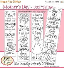MOMS DAY SALE Mothers Day A Godly Woman Color Your Own Bible Bookmarks