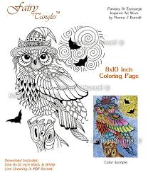 Halloween Trick Or Treat Owl With Full Moon And Bats Fairy Tangles Digital Adult Coloring Book Page Colouring Sheet For Adults Owls