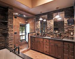 Rustic Bathtub Tile Surround by Modern Rustic Bathroom With Walk In Shower And Modern Fixtures