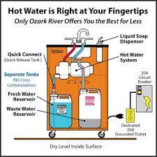 ozark river advantage portable hot water sink triple stainless