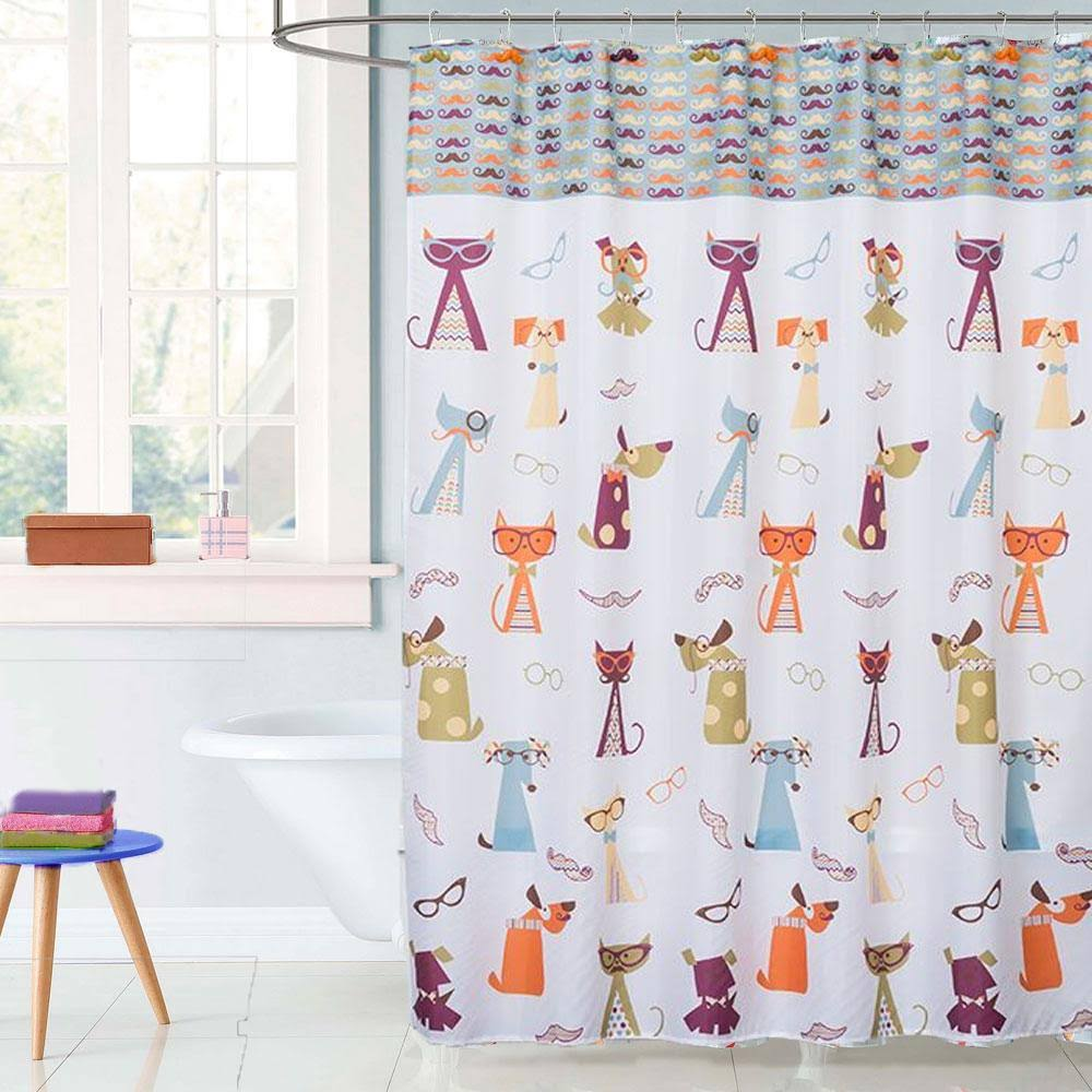 Saturday Knight Shower Curtains Hipster - Hipster Paws Fabric Shower Curtain