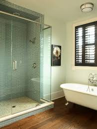 tile shower curb bathroom contemporary with narrow window top