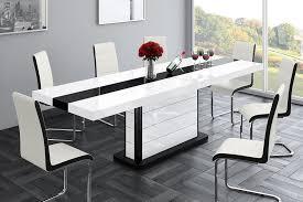 design esstisch tisch he 555 weiß schwarz hochglanz ausziehbar 160 bis 260 cm