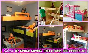 diy space saving triple bunk bed free plan tutorial